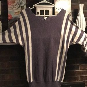 Blue/grey and white striped sweater